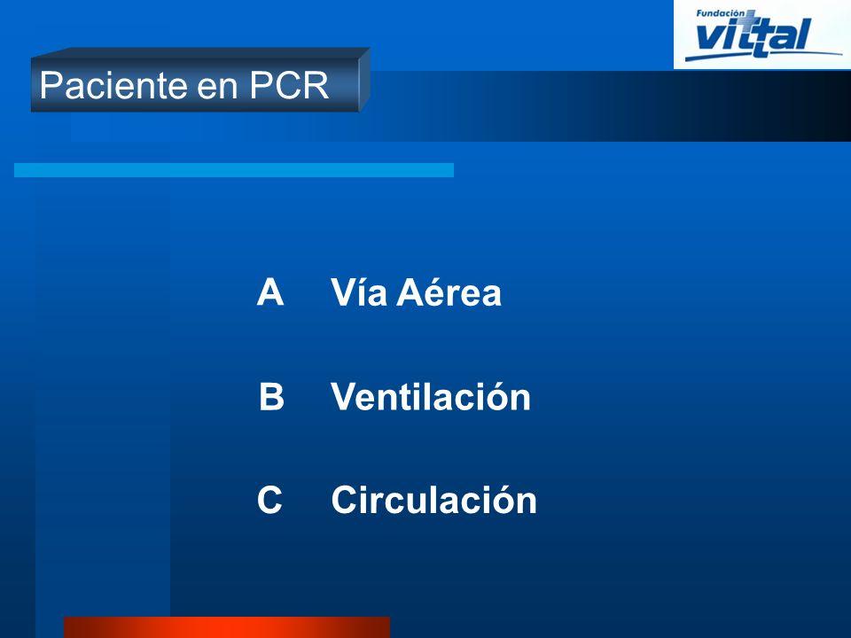 Paciente en PCR A B C Vía Aérea Ventilación Circulación