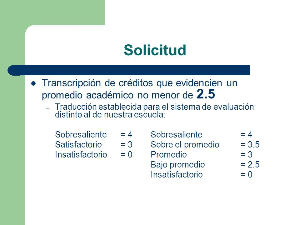 Solicitud Transcripción de créditos que evidencien un promedio académico no menor de 2.5 – Traducción establecida para el sistema de evaluación distin