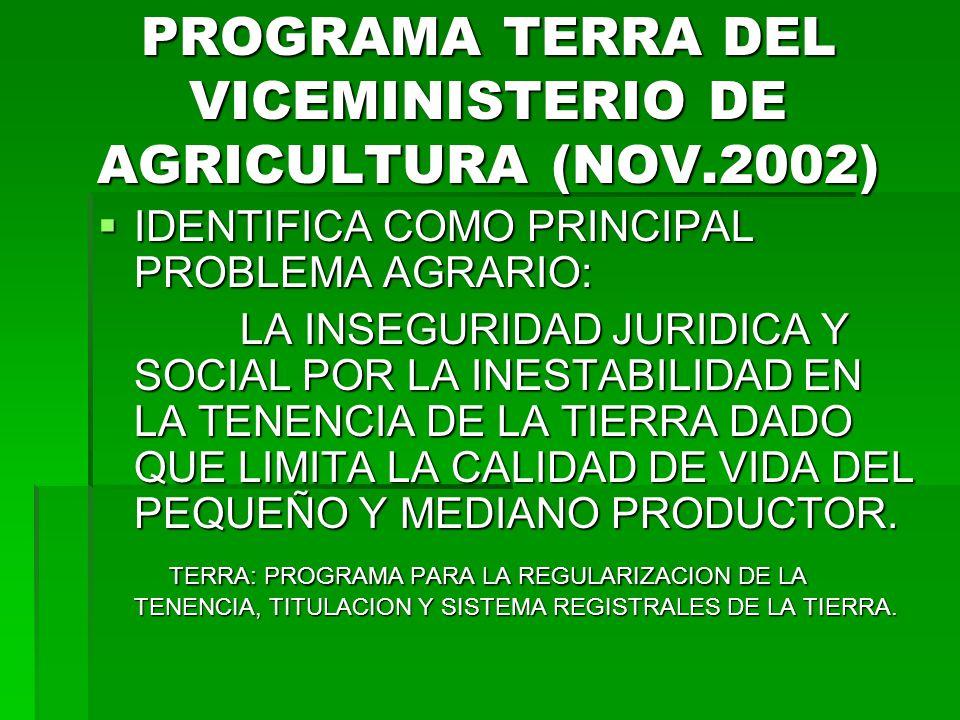 PROGRAMA TERRA DEL VICEMINISTERIO DE AGRICULTURA (NOV.2002) IDENTIFICA COMO PRINCIPAL PROBLEMA AGRARIO: IDENTIFICA COMO PRINCIPAL PROBLEMA AGRARIO: LA INSEGURIDAD JURIDICA Y SOCIAL POR LA INESTABILIDAD EN LA TENENCIA DE LA TIERRA DADO QUE LIMITA LA CALIDAD DE VIDA DEL PEQUEÑO Y MEDIANO PRODUCTOR.
