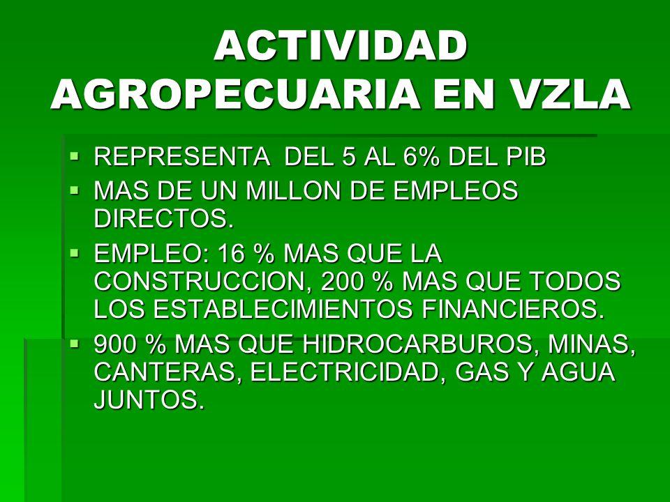 ACTIVIDAD AGROPECUARIA EN VZLA REPRESENTA DEL 5 AL 6% DEL PIB REPRESENTA DEL 5 AL 6% DEL PIB MAS DE UN MILLON DE EMPLEOS DIRECTOS.