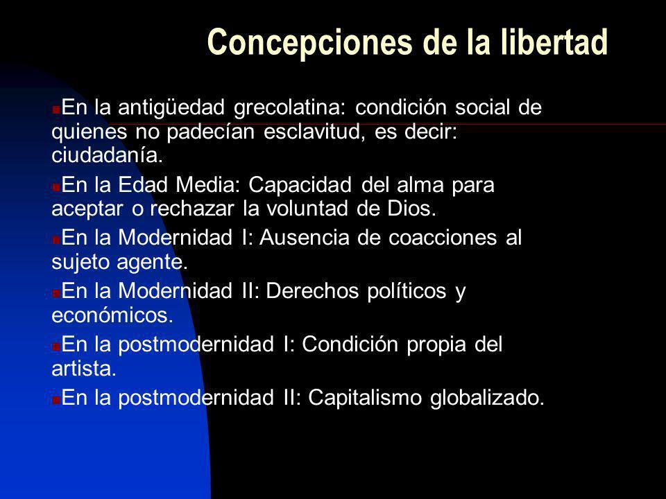 Concepciones de la libertad En la antigüedad grecolatina: condición social de quienes no padecían esclavitud, es decir: ciudadanía. En la Edad Media: