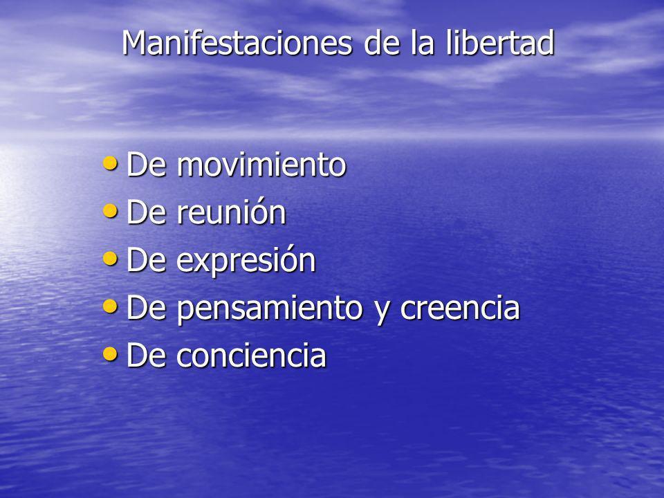 Manifestaciones de la libertad De movimiento De movimiento De reunión De reunión De expresión De expresión De pensamiento y creencia De pensamiento y