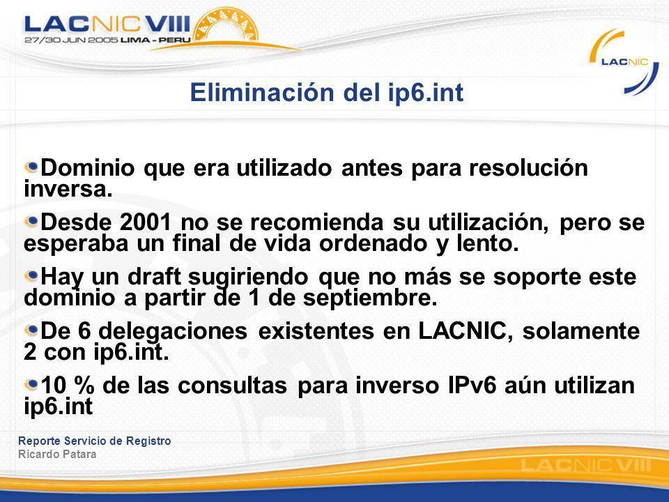 Reporte Servicio de Registro Ricardo Patara Eliminación del ip6.int Dominio que era utilizado antes para resolución inversa. Desde 2001 no se recomien
