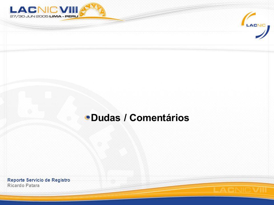 Reporte Servicio de Registro Ricardo Patara Dudas / Comentários