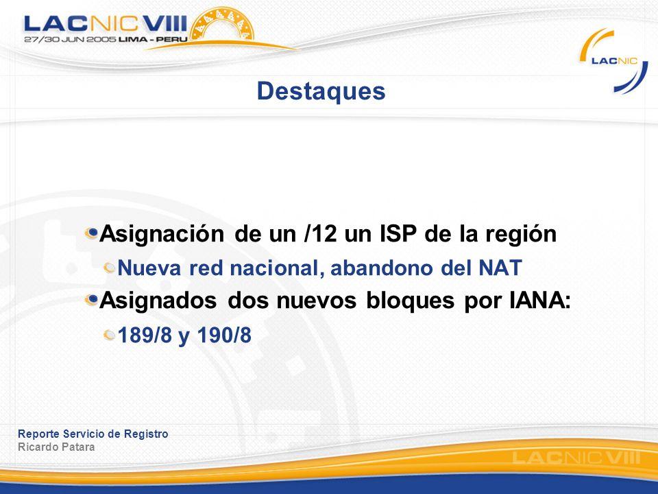 Reporte Servicio de Registro Ricardo Patara Destaques Asignación de un /12 un ISP de la región Nueva red nacional, abandono del NAT Asignados dos nuevos bloques por IANA: 189/8 y 190/8