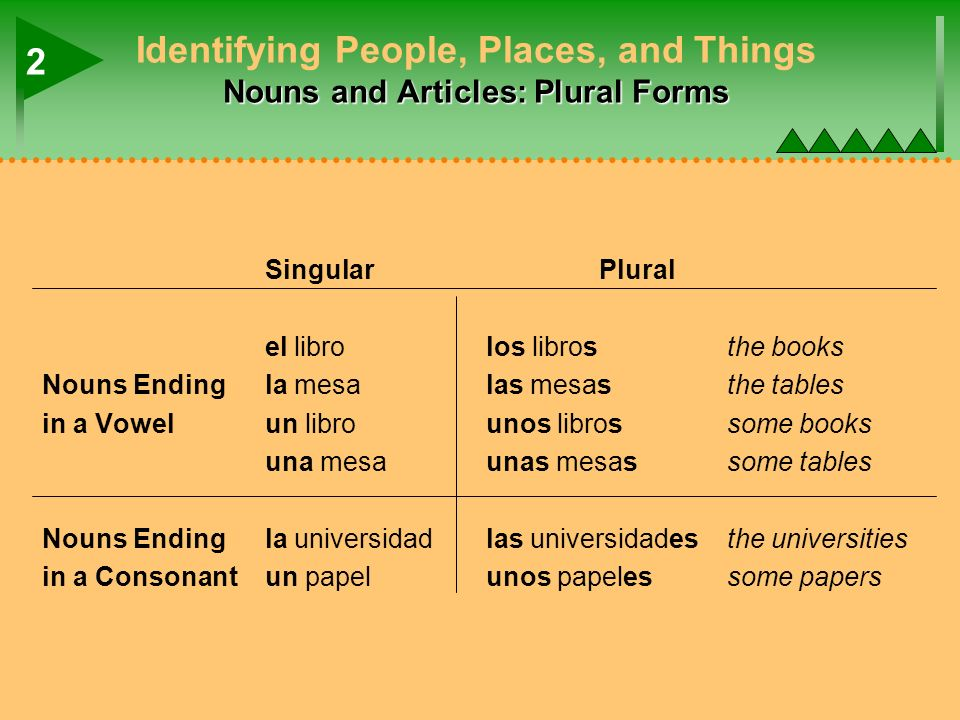 Nouns and Articles: Plural Forms Identifying People, Places, and Things Nouns and Articles: Plural Forms SingularPlural el librolos librosthe books No