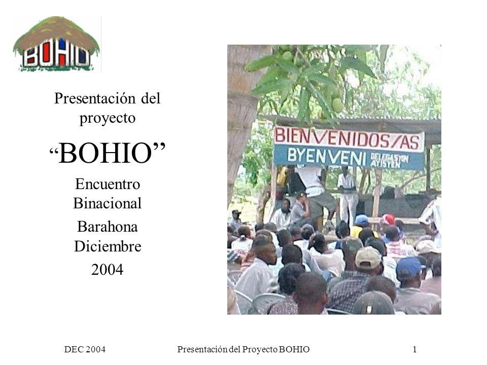 DEC 2004Presentación del Proyecto BOHIO1 Presentación del proyecto BOHIO Encuentro Binacional Barahona Diciembre 2004