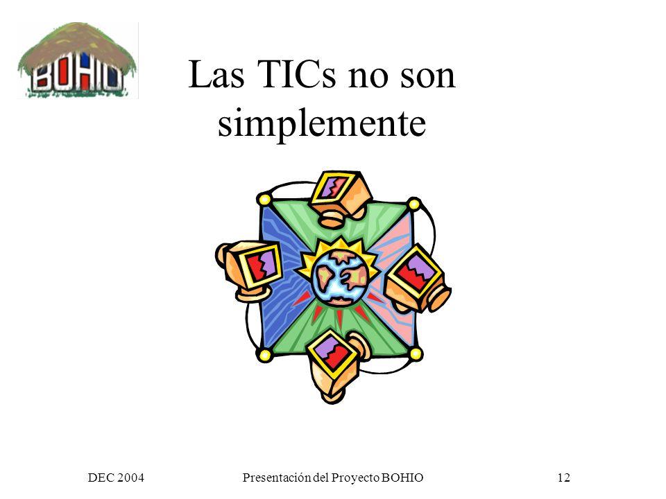 DEC 2004Presentación del Proyecto BOHIO11 Usando valor agregado al uso de las Tecnologías de Información y Comunicación (TIC)