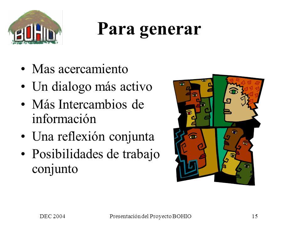 DEC 2004Presentación del Proyecto BOHIO14 Y en este proyecto las usaremos..