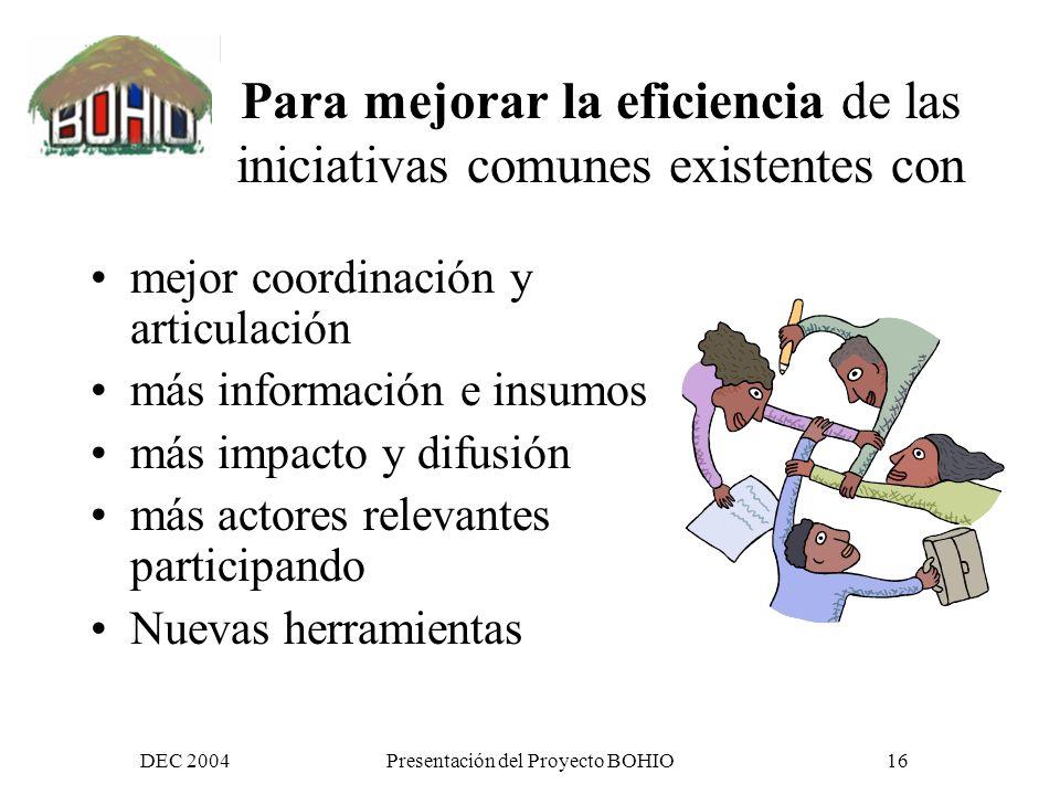DEC 2004Presentación del Proyecto BOHIO15 Para generar Mas acercamiento Un dialogo más activo Más Intercambios de información Una reflexión conjunta Posibilidades de trabajo conjunto
