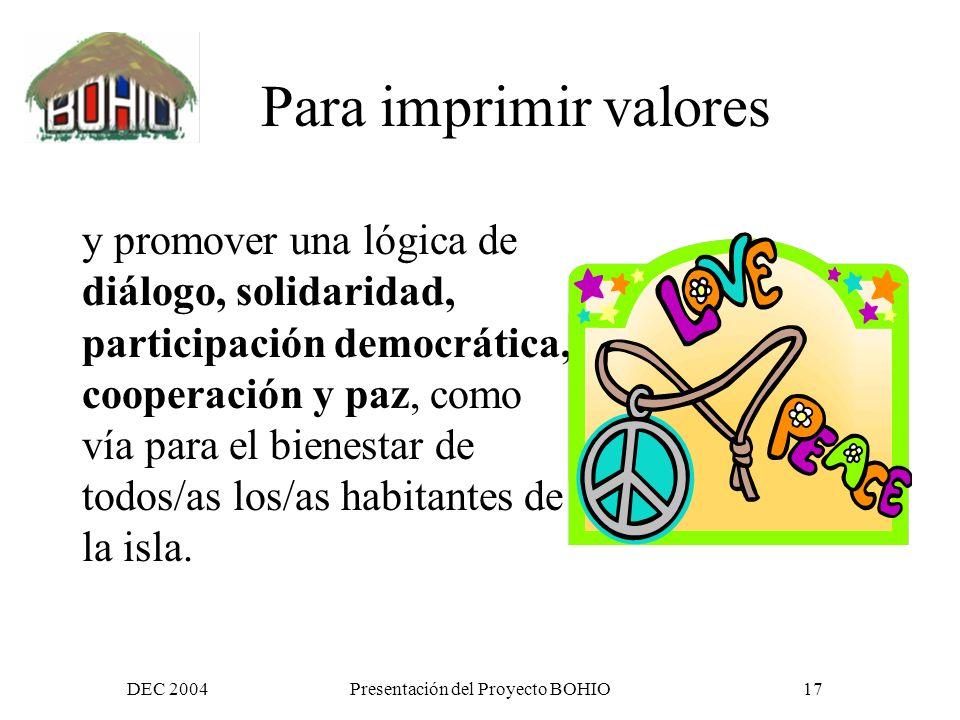 DEC 2004Presentación del Proyecto BOHIO16 Para mejorar la eficiencia de las iniciativas comunes existentes con mejor coordinación y articulación más información e insumos más impacto y difusión más actores relevantes participando Nuevas herramientas