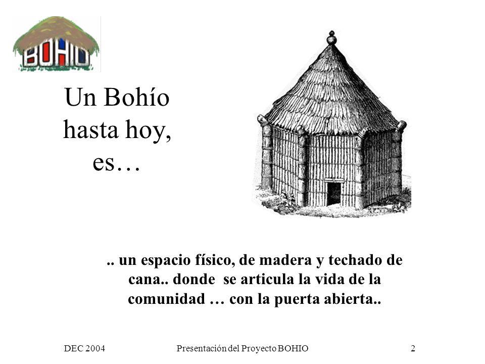 DEC 2004Presentación del Proyecto BOHIO32 Proceso de dialogo y posicionamiento común (1) Un estado de la situación (diagnostico) primer encuentro de 3 días comunidad virtual esta facilitada y conducida, dentro de un proceso de reflexión colectiva, hacia la creación de un documento de posición
