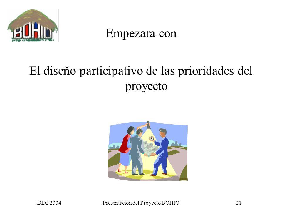 DEC 2004Presentación del Proyecto BOHIO20 Como caminara esto