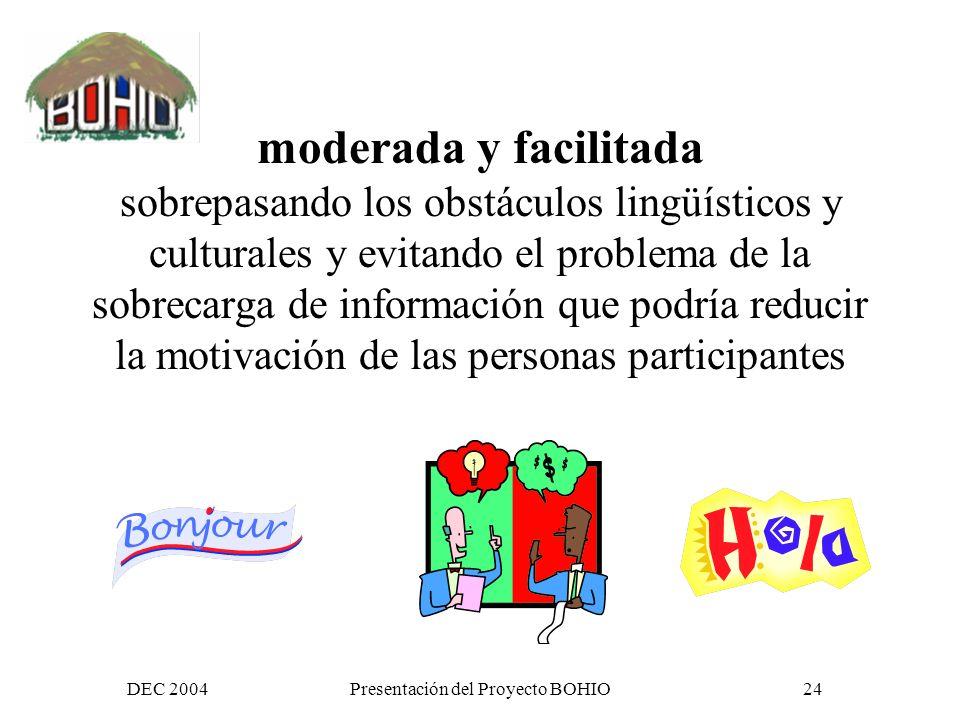 DEC 2004Presentación del Proyecto BOHIO23 la construcción de una comunidad virtual (CV) de reflexión, acción y colaboración,