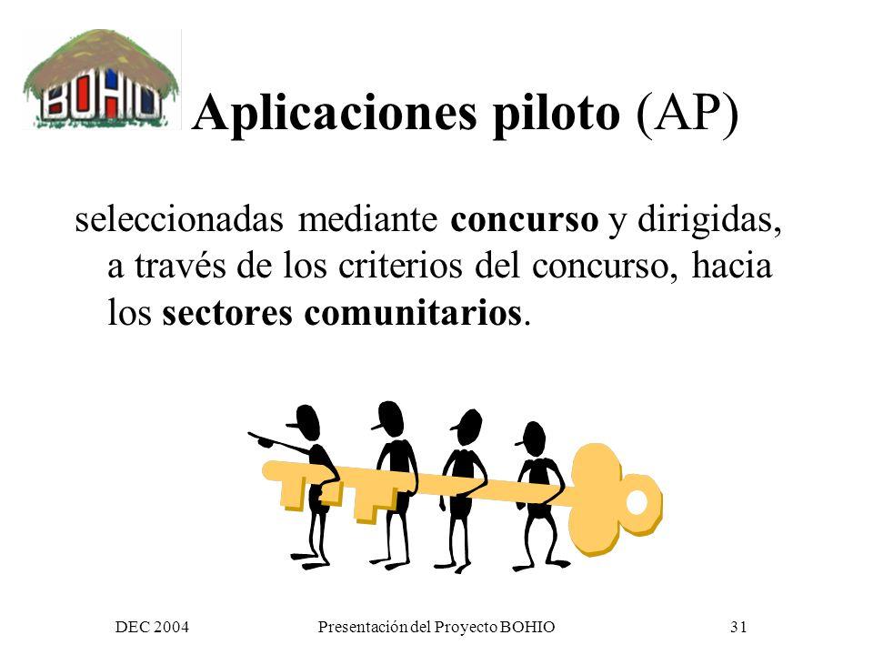 DEC 2004Presentación del Proyecto BOHIO30 Capacitación acciones de capacitación, y fortalecimiento de las capacidades de las TIC y al sistema de información BOHIO