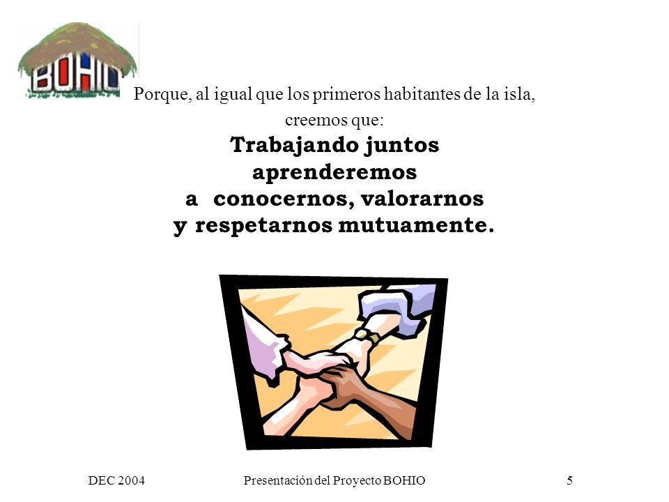 DEC 2004Presentación del Proyecto BOHIO25 Y que mas tarde… generan redes temáticas y grupos de trabajo Salud Desarrollo rural Derechos humanos y migración Medio ambiente Genero cultura