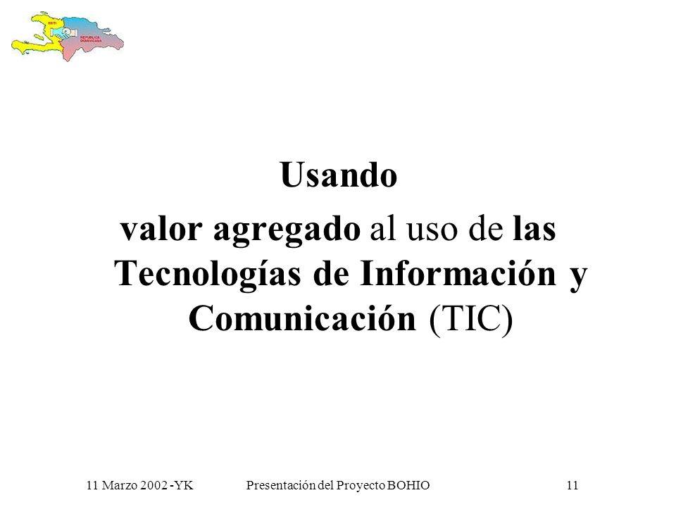 11 Marzo 2002 -YKPresentación del Proyecto BOHIO10 COMO ?
