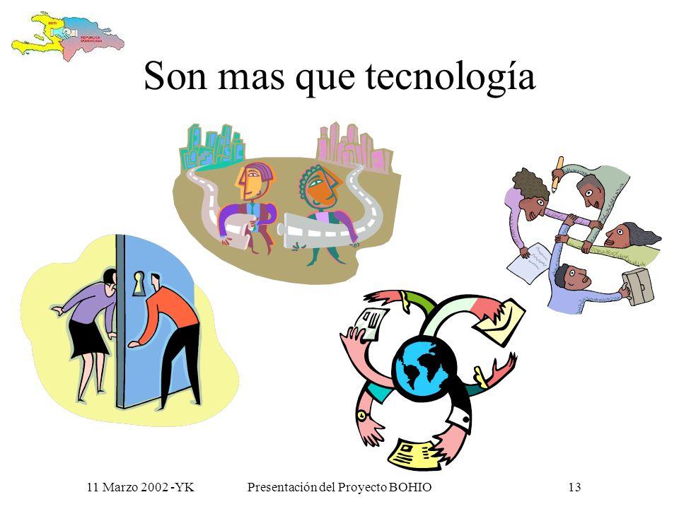 11 Marzo 2002 -YKPresentación del Proyecto BOHIO12 Las TICs no son simplemente