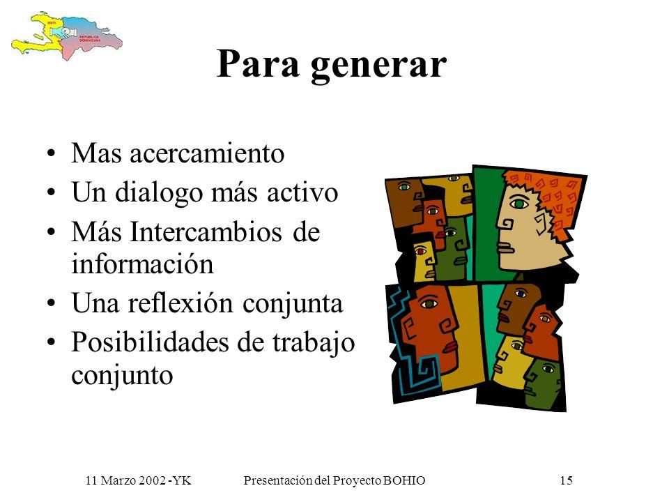 11 Marzo 2002 -YKPresentación del Proyecto BOHIO14 Y en este proyecto las usaremos..