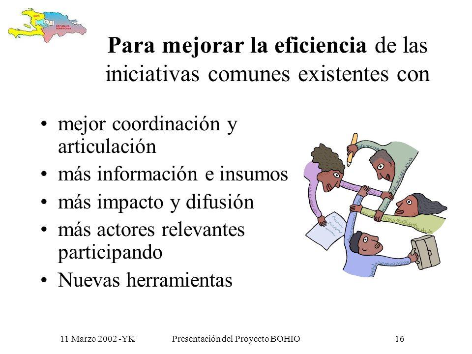 11 Marzo 2002 -YKPresentación del Proyecto BOHIO15 Para generar Mas acercamiento Un dialogo más activo Más Intercambios de información Una reflexión c