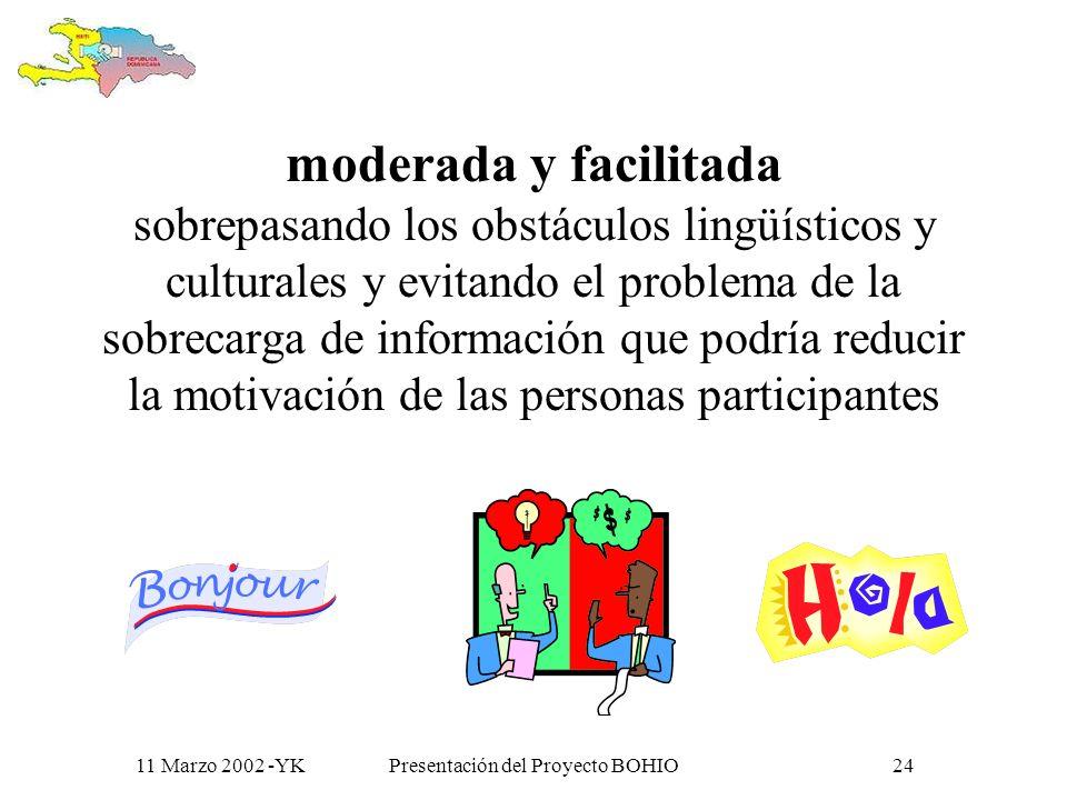 11 Marzo 2002 -YKPresentación del Proyecto BOHIO23 la construcción de una comunidad virtual (CV) de reflexión, acción y colaboración,