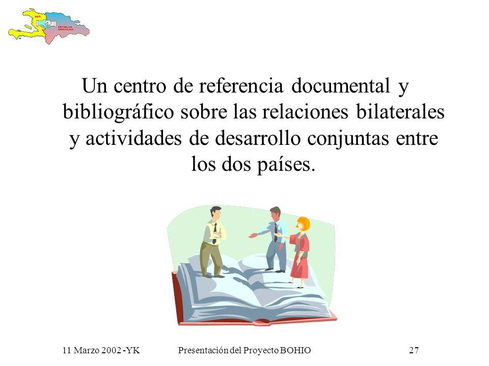 11 Marzo 2002 -YKPresentación del Proyecto BOHIO26 La CV Se apoya en recursos de información estructurados y organizados, para la producción, acceso e