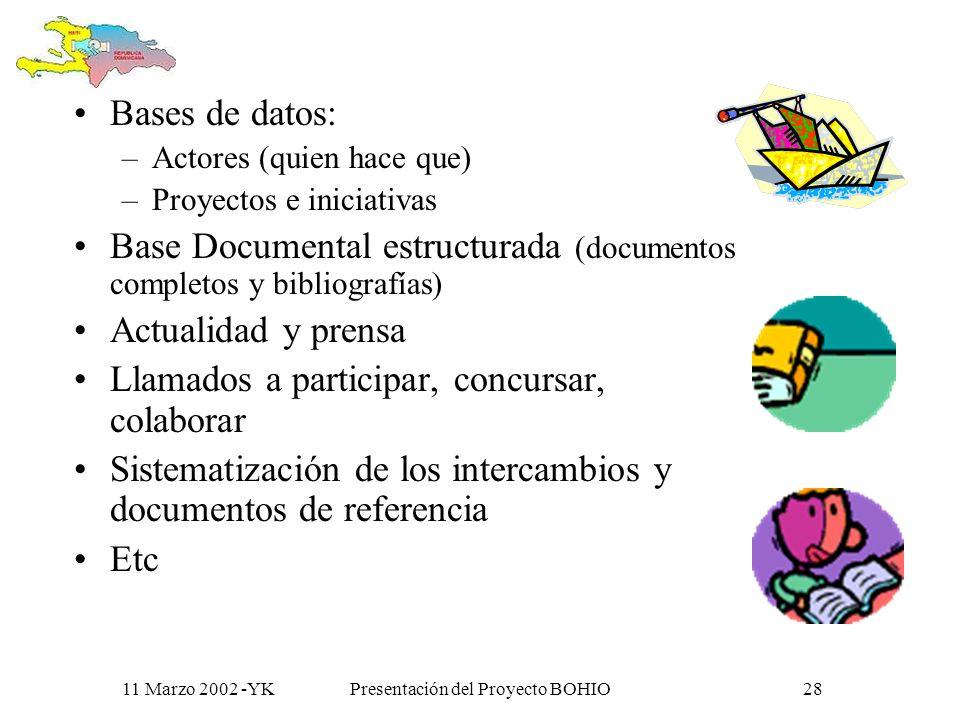 11 Marzo 2002 -YKPresentación del Proyecto BOHIO27 Un centro de referencia documental y bibliográfico sobre las relaciones bilaterales y actividades de desarrollo conjuntas entre los dos países.
