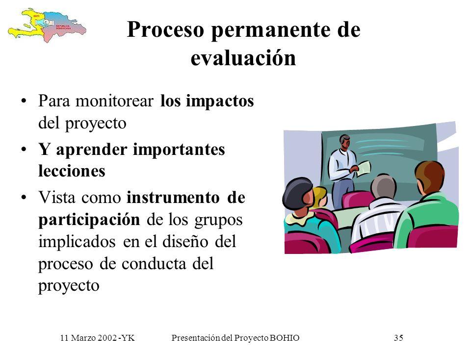 11 Marzo 2002 -YKPresentación del Proyecto BOHIO34 Impacto hacia las comunidades| (fronterizas y mas) potencializar indirectamente las acciones comuni