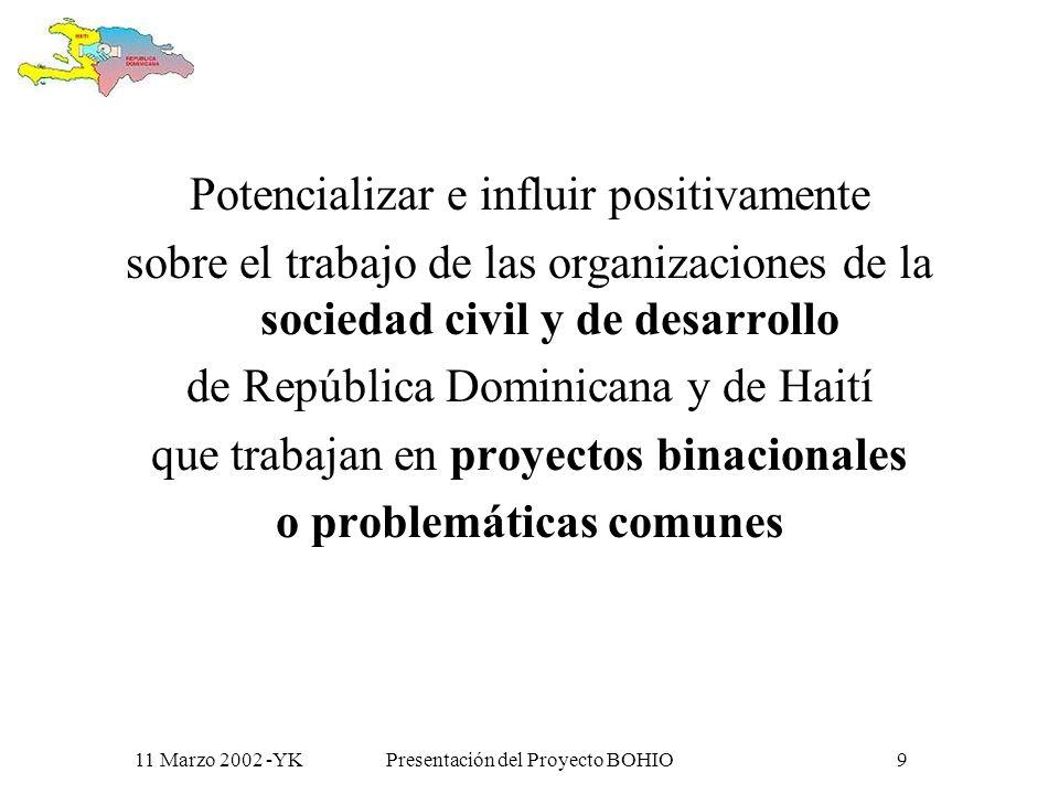 11 Marzo 2002 -YKPresentación del Proyecto BOHIO8 Objetivo superior del proyecto: