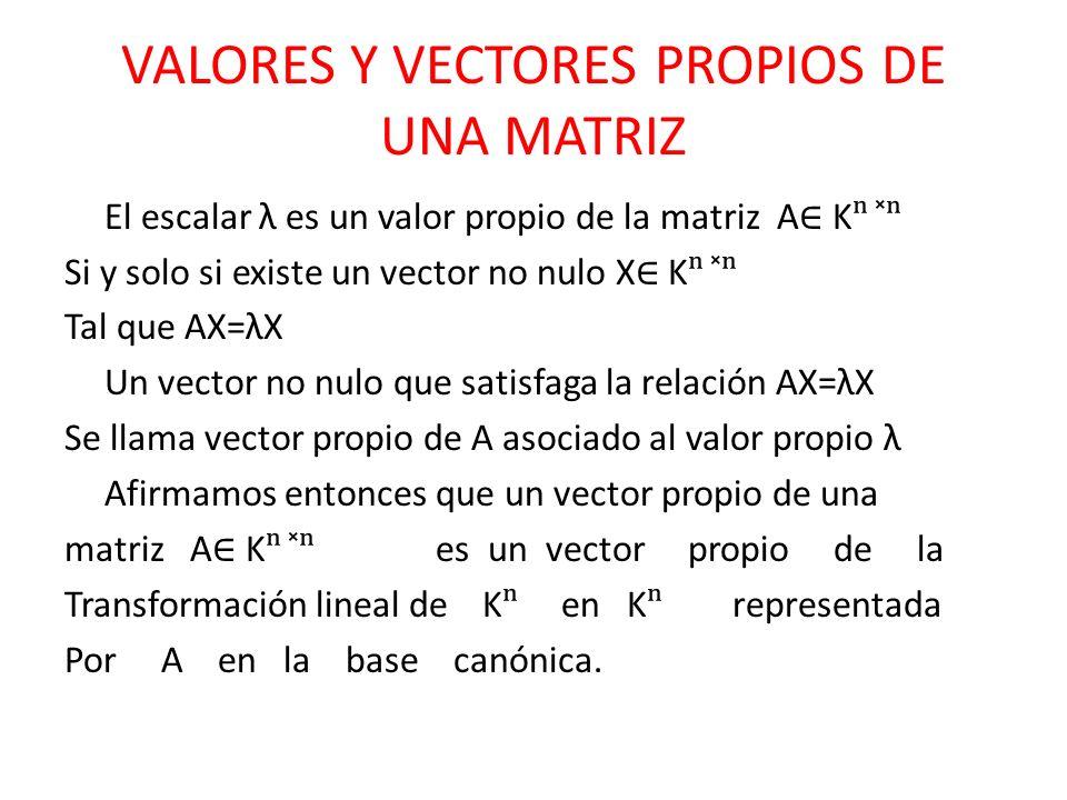 VALORES Y VECTORES PROPIOS DE UNA MATRIZ El escalar λ es un valor propio de la matriz A K ̽ Si y solo si existe un vector no nulo X K ̽ Tal que AX=λX