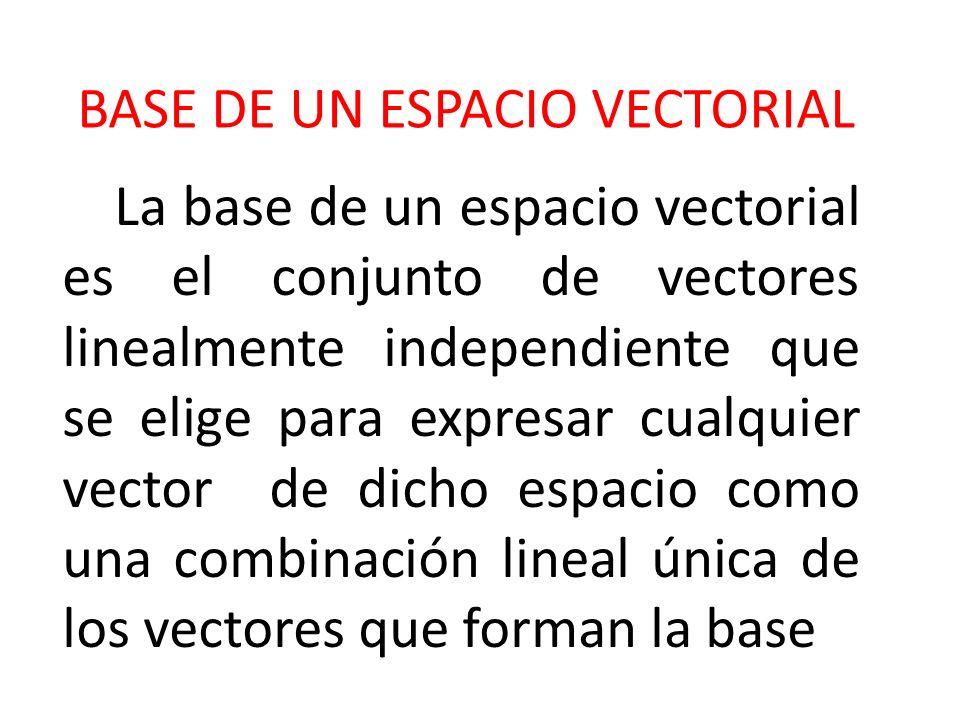 BASE DE UN ESPACIO VECTORIAL La base de un espacio vectorial es el conjunto de vectores linealmente independiente que se elige para expresar cualquier