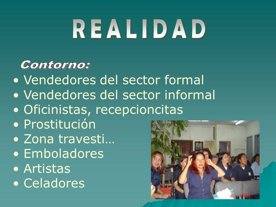 Vendedores del sector formal Vendedores del sector informal Oficinistas, recepcioncitas Prostitución Zona travesti… Emboladores Artistas Celadores