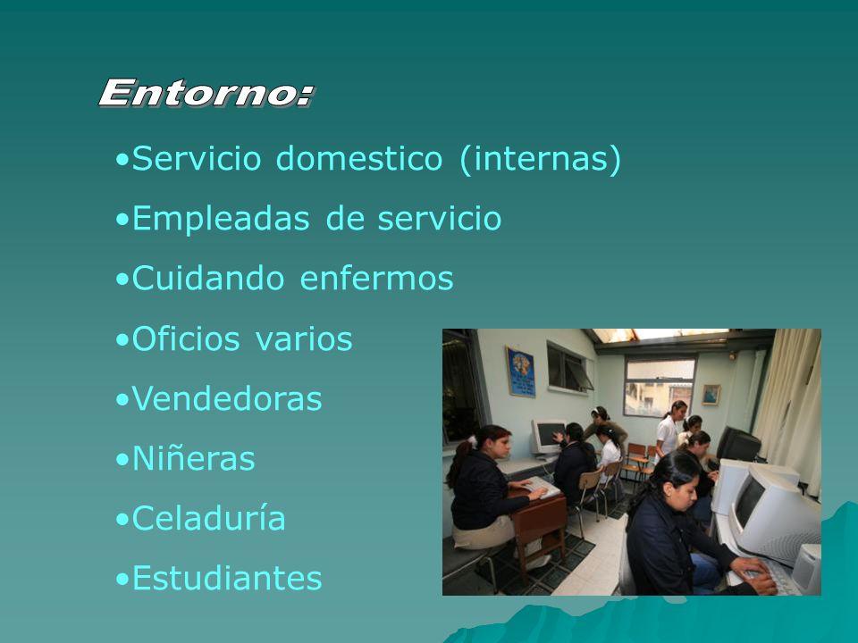 Servicio domestico (internas) Empleadas de servicio Cuidando enfermos Oficios varios Vendedoras Niñeras Celaduría Estudiantes