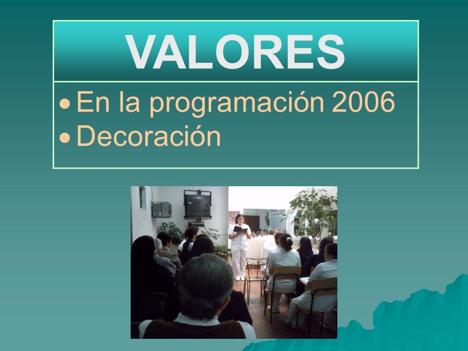 VALORES En la programación 2006 Decoración
