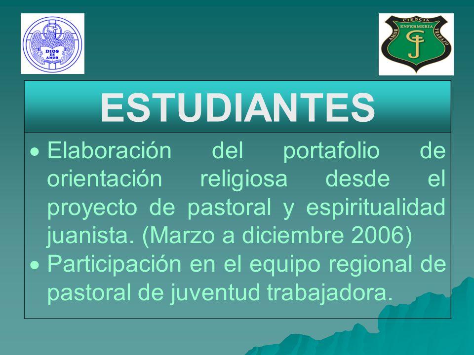 ESTUDIANTES Elaboración del portafolio de orientación religiosa desde el proyecto de pastoral y espiritualidad juanista.