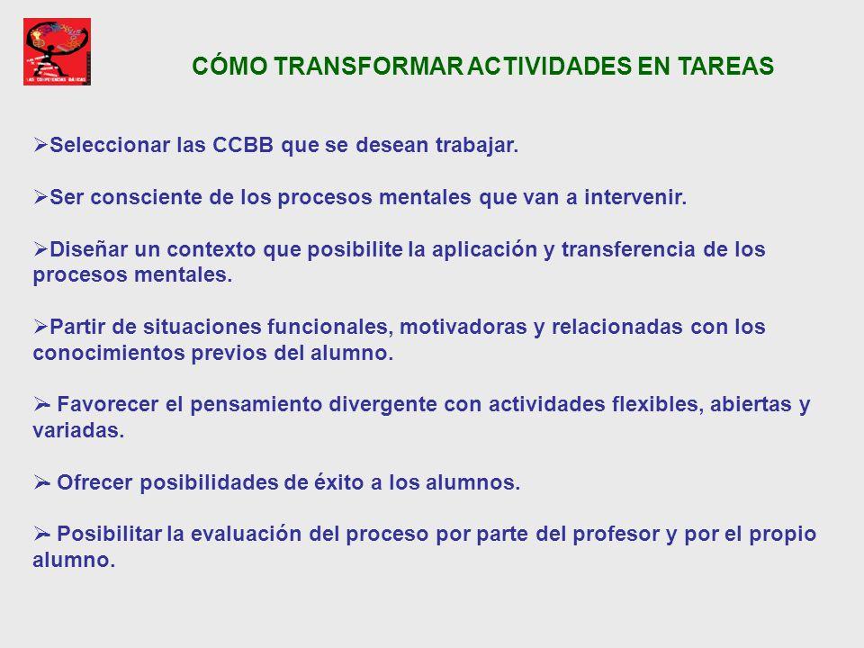 CÓMO TRANSFORMAR ACTIVIDADES EN TAREAS Seleccionar las CCBB que se desean trabajar. Ser consciente de los procesos mentales que van a intervenir. Dise