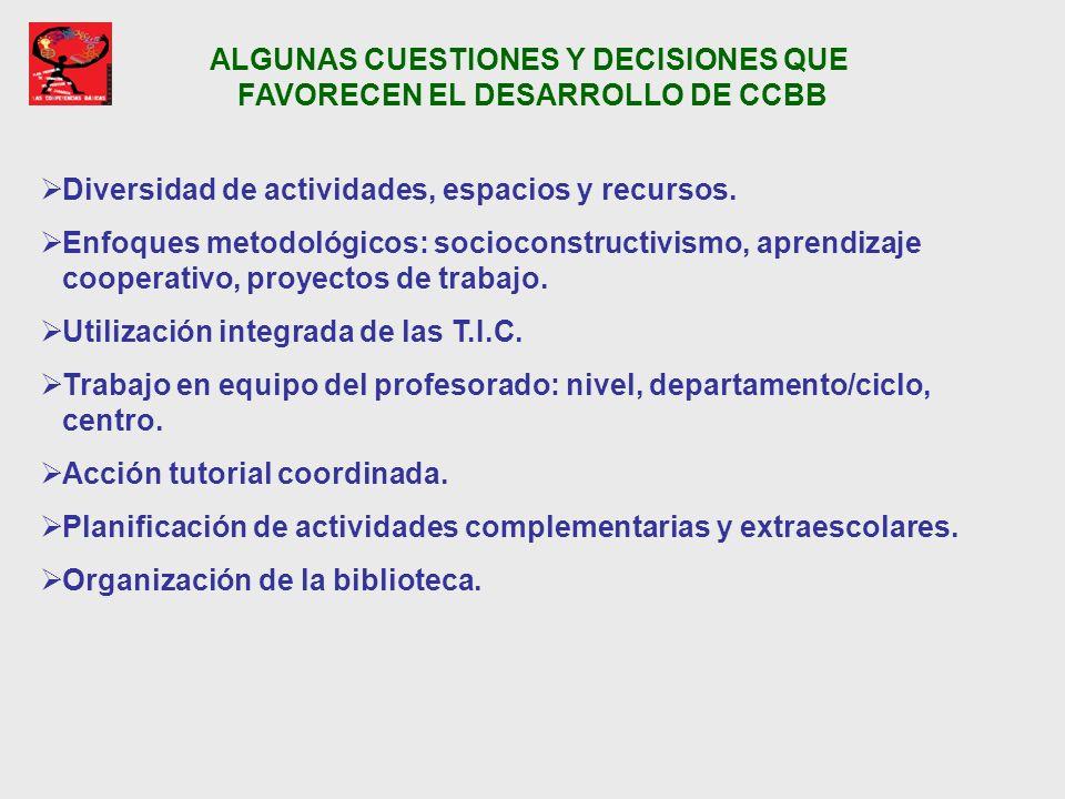 ALGUNAS CUESTIONES Y DECISIONES QUE FAVORECEN EL DESARROLLO DE CCBB Diversidad de actividades, espacios y recursos. Enfoques metodológicos: socioconst