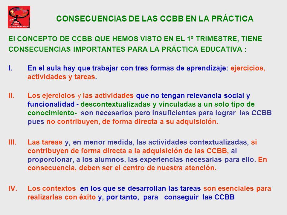 CONSECUENCIAS DE LAS CCBB EN LA PRÁCTICA El CONCEPTO DE CCBB QUE HEMOS VISTO EN EL 1º TRIMESTRE, TIENE CONSECUENCIAS IMPORTANTES PARA LA PRÁCTICA EDUC