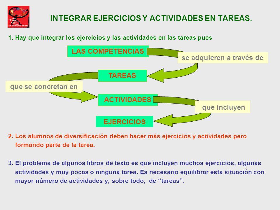 INTEGRAR EJERCICIOS Y ACTIVIDADES EN TAREAS. 1. Hay que integrar los ejercicios y las actividades en las tareas pues 2. Los alumnos de diversificación