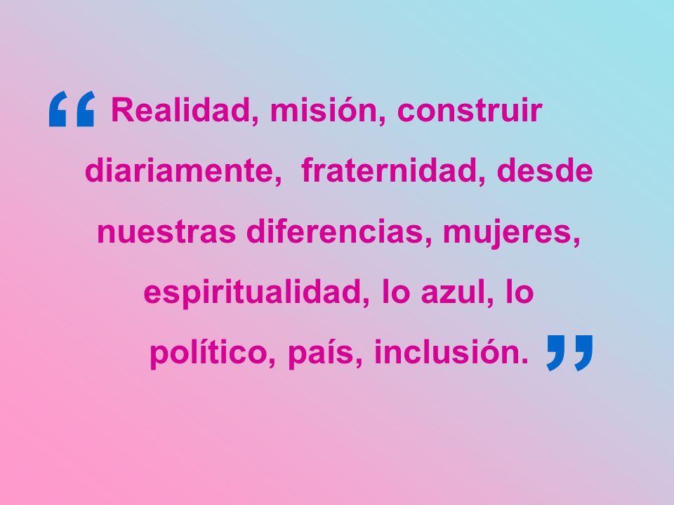 Realidad, misión, construir diariamente, fraternidad, desde nuestras diferencias, mujeres, espiritualidad, lo azul, lo político, país, inclusión.