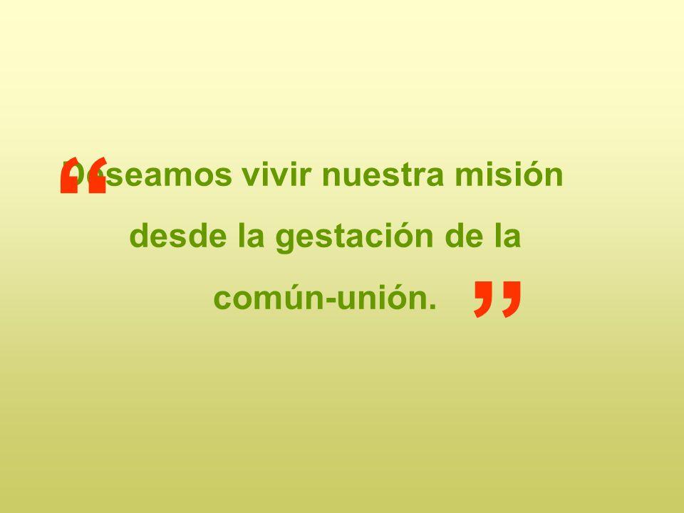 Deseamos vivir nuestra misión desde la gestación de la común-unión.