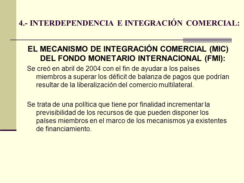 4.- INTERDEPENDENCIA E INTEGRACIÓN COMERCIAL: EL MECANISMO DE INTEGRACIÓN COMERCIAL (MIC) DEL FONDO MONETARIO INTERNACIONAL (FMI): Se creó en abril de