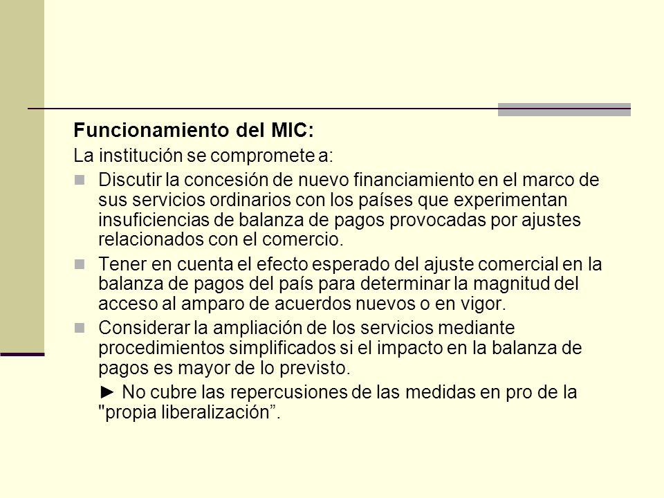 Funcionamiento del MIC: La institución se compromete a: Discutir la concesión de nuevo financiamiento en el marco de sus servicios ordinarios con los