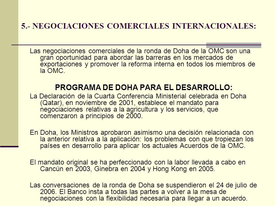 5.- NEGOCIACIONES COMERCIALES INTERNACIONALES: Las negociaciones comerciales de la ronda de Doha de la OMC son una gran oportunidad para abordar las b