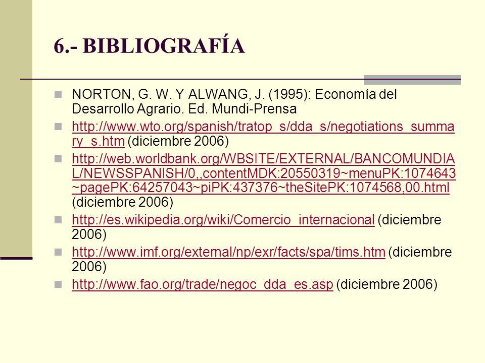 6.- BIBLIOGRAFÍA NORTON, G. W. Y ALWANG, J. (1995): Economía del Desarrollo Agrario. Ed. Mundi-Prensa http://www.wto.org/spanish/tratop_s/dda_s/negoti