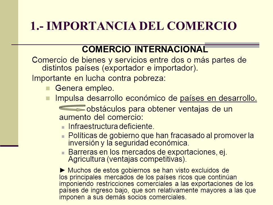 1.- IMPORTANCIA DEL COMERCIO COMERCIO INTERNACIONAL Comercio de bienes y servicios entre dos o más partes de distintos países (exportador e importador