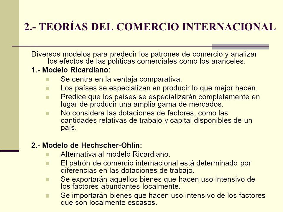 2.- TEORÍAS DEL COMERCIO INTERNACIONAL Diversos modelos para predecir los patrones de comercio y analizar los efectos de las políticas comerciales com
