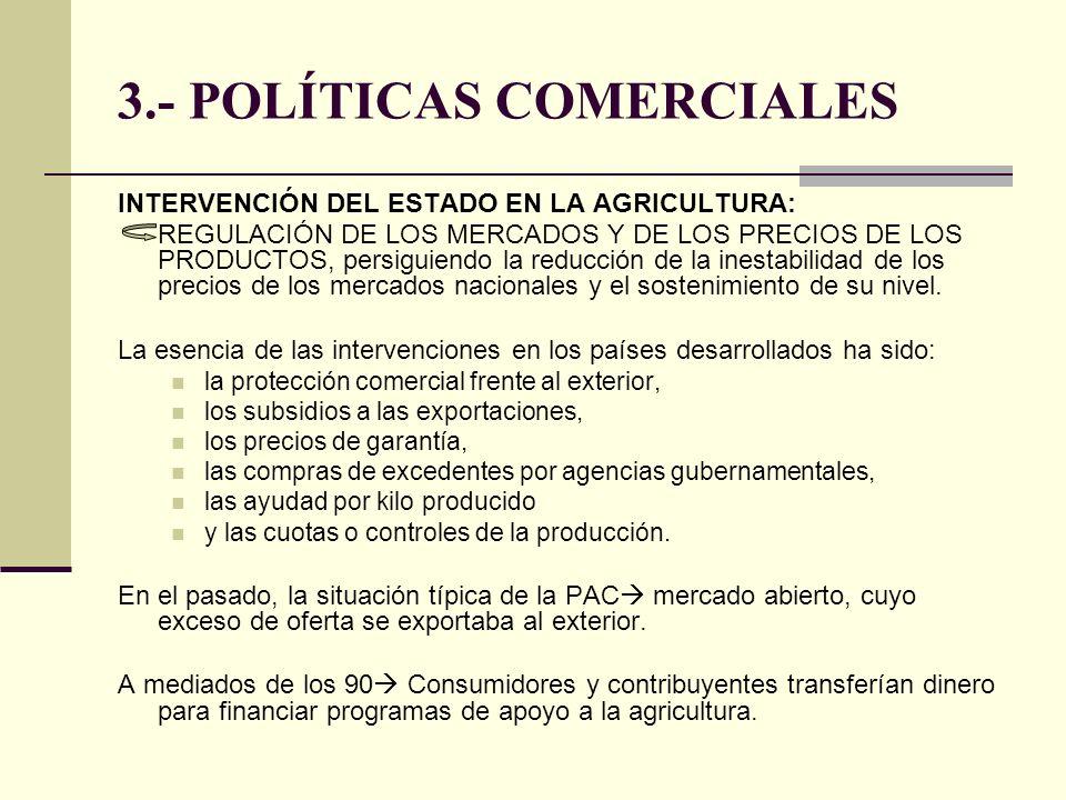 3.- POLÍTICAS COMERCIALES INTERVENCIÓN DEL ESTADO EN LA AGRICULTURA: REGULACIÓN DE LOS MERCADOS Y DE LOS PRECIOS DE LOS PRODUCTOS, persiguiendo la red