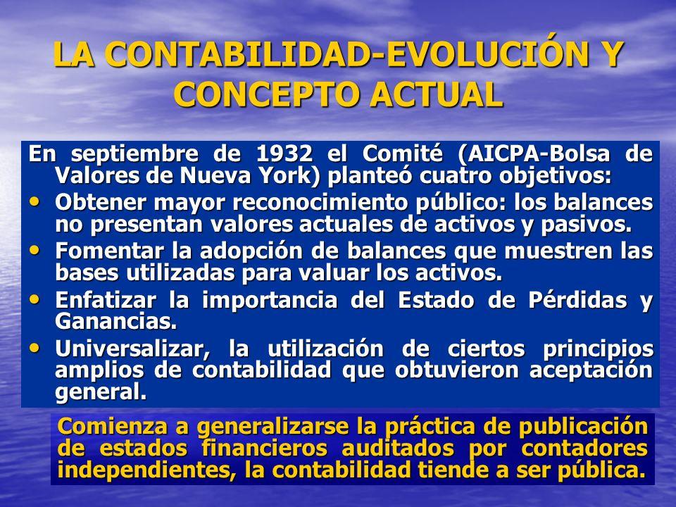 LA CONTABILIDAD-EVOLUCIÓN Y CONCEPTO ACTUAL En septiembre de 1932 el Comité (AICPA-Bolsa de Valores de Nueva York) planteó cuatro objetivos: Obtener m