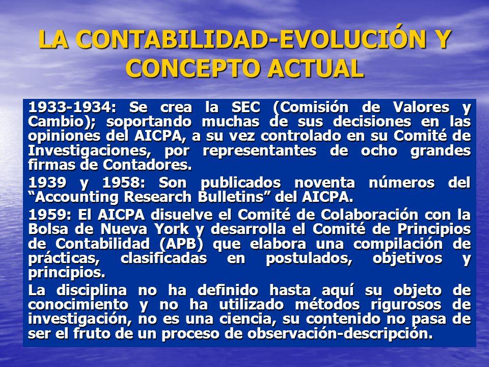 LA CONTABILIDAD-EVOLUCIÓN Y CONCEPTO ACTUAL 1933-1934: Se crea la SEC (Comisión de Valores y Cambio); soportando muchas de sus decisiones en las opini